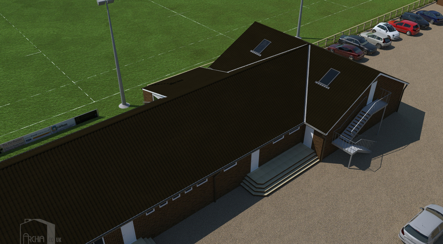 Midday view of clubhouse showing car-park and meeting room access.