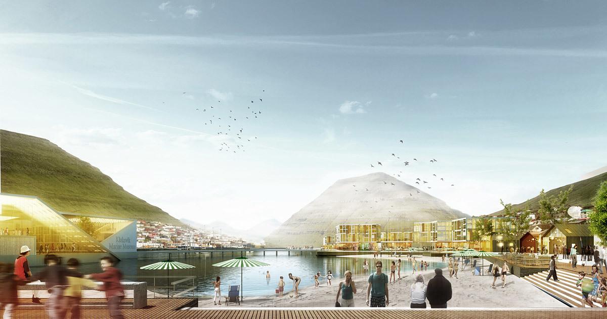Rendering of the competition-winning design for Klaksvík City Center by Henning Larsen Architects (Image: Henning Larsen Architects)