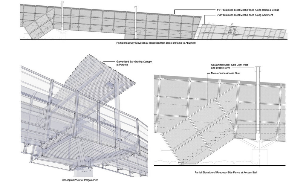 Schematic ramp elevation and conceptual detail illustration.