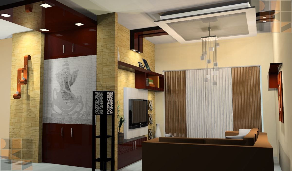 collections of pooja room designs in living room interior