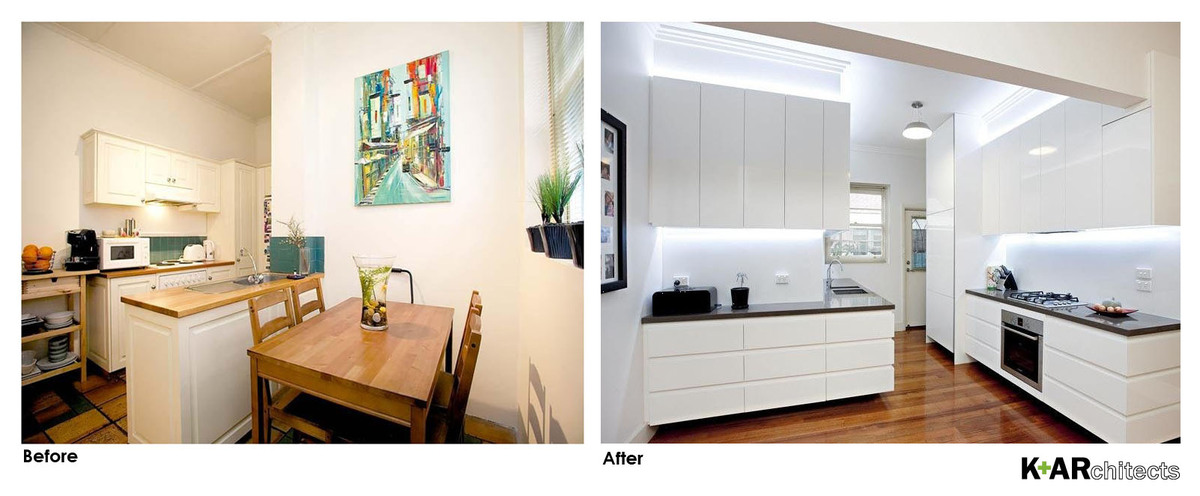 Removing the wall between the kitchen and living improved the sense of space and light.