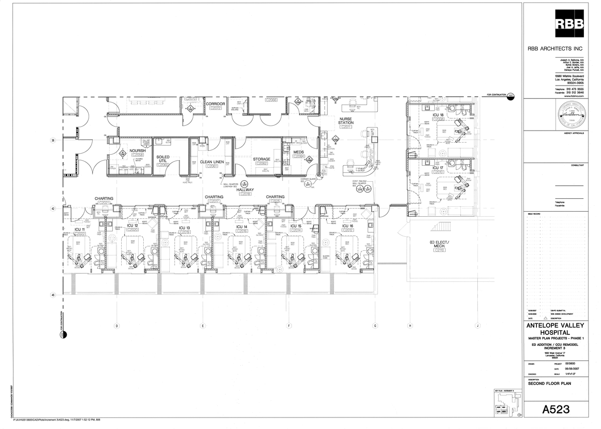 Antelope Valley Hospital Master Plan Projects Phase 1, Increment 3, ED Addition / CCU Remodel, Second Floor Plan