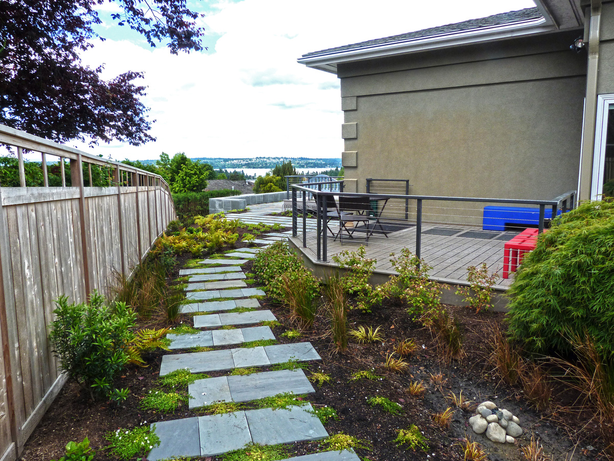 The blue stone path after construction.