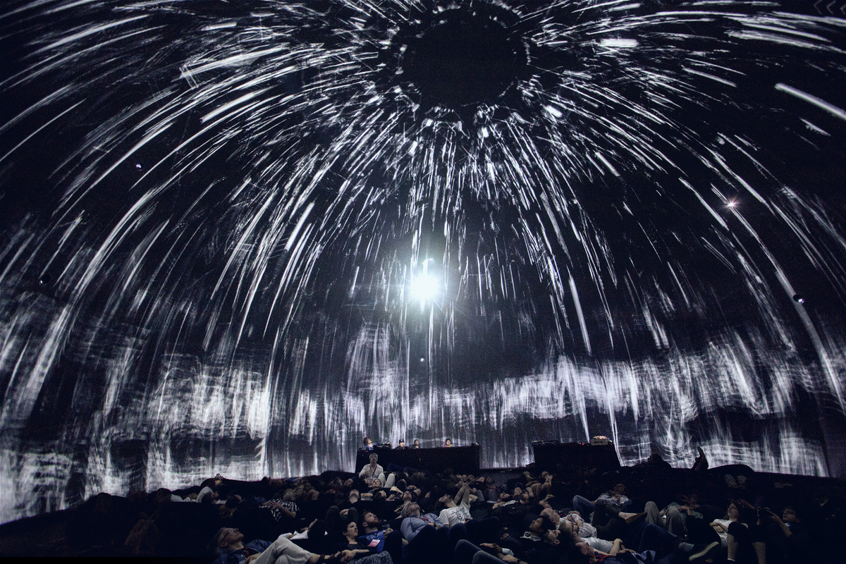 The night of June 3rd, Immersion Experience Symposium 2016, Montreal, Canada. Premiere of Morphogenesis at SATs dome Satosphere, the very first immersive modular theatre, dedicated to artistic creation. photo by SebastienRoy.ca