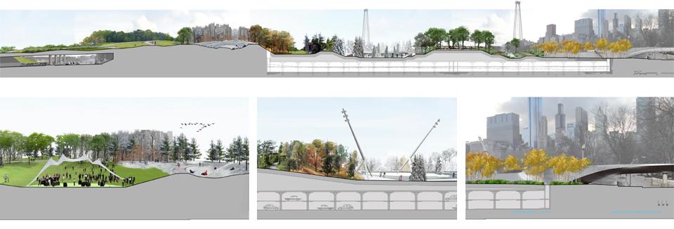 Early concept sections, North Grant Park. Michael Van Valkenburgh Associates, 2011.