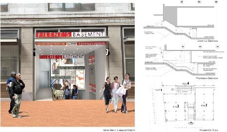 Redesigned Filenes Basement / MBTA entry