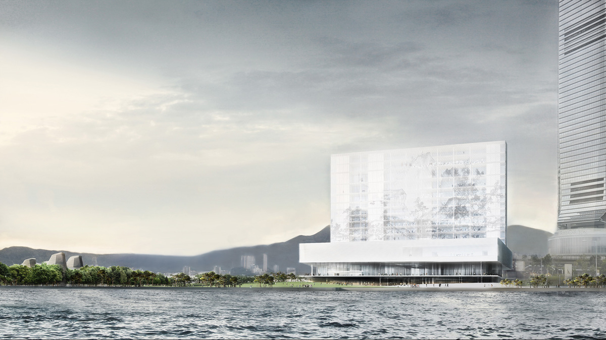 Waterside View: View of M+ from the Park at West Kowloon Cultural District. © Herzog & de Meuron, Courtesy of Herzog & de Meuron and WKCDA