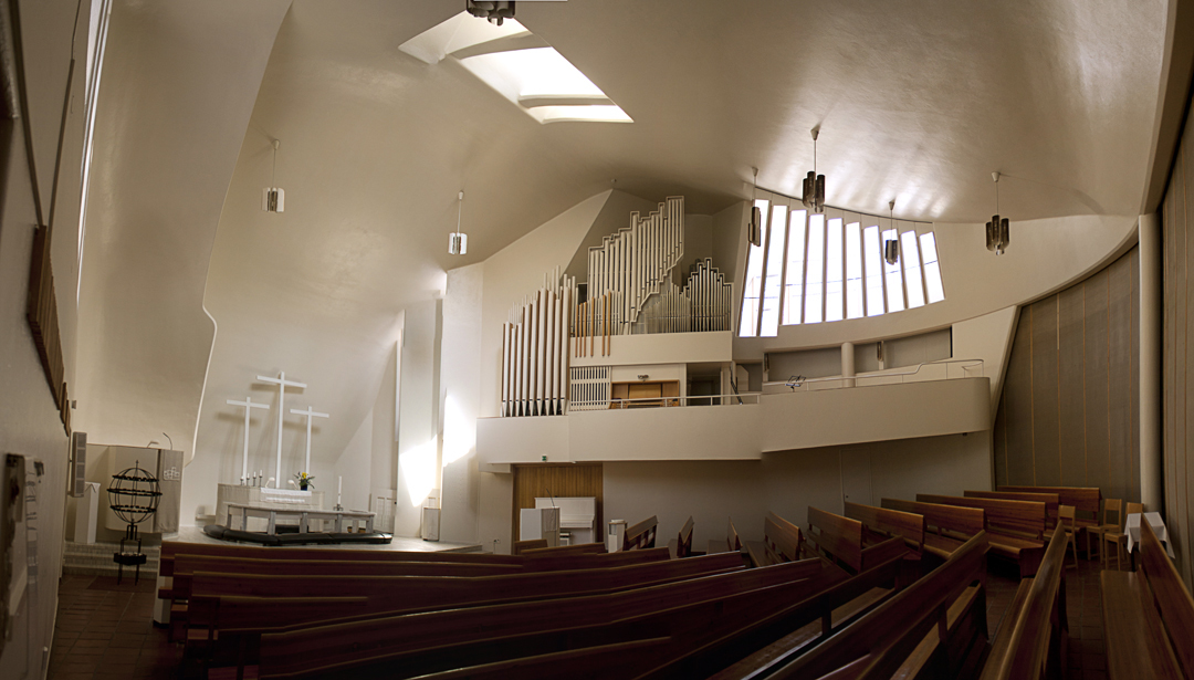 Panorama of the Vuoksenniska Church (Church of 3 Crosses), Vuoksenniska, Finland 1958