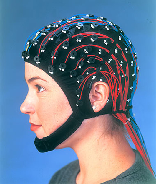 Skullcap version of EEG sensors, via neuroscan.com.
