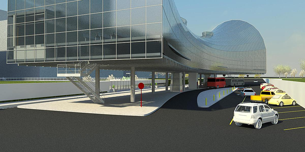 View entering the Transportation Hub from Vehicle