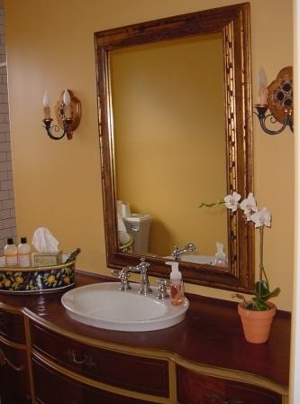 guest bath with vintage vanity
