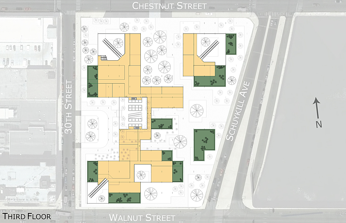 3rd floor plan showing the upper level of the retail portion of the building