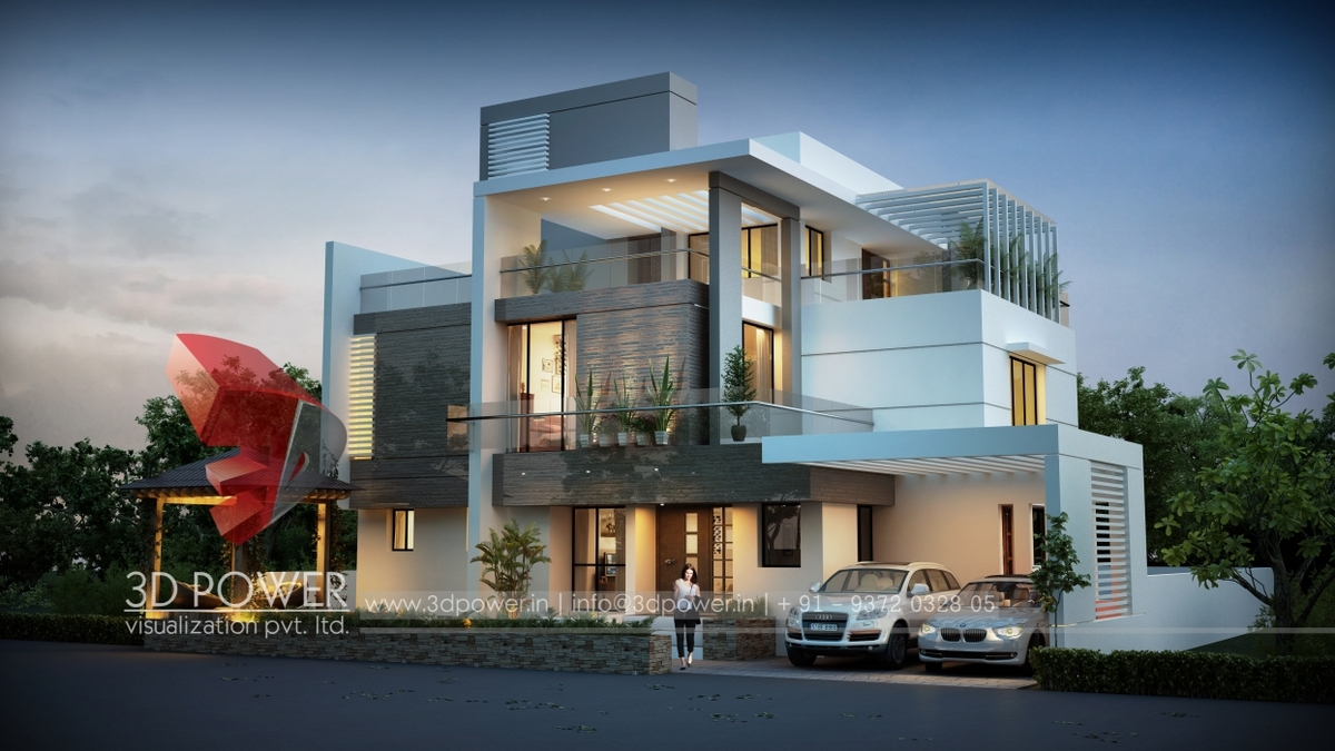 3d ultra modern bungalow exterior day rendering and for Modern bungalow elevation