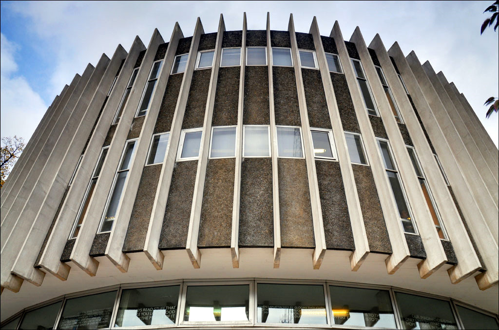 exterior vertical concrete fins on Swiss Cottage Library designed by Sir Basil Spence, Bonnington and Collins-photo by George Rex