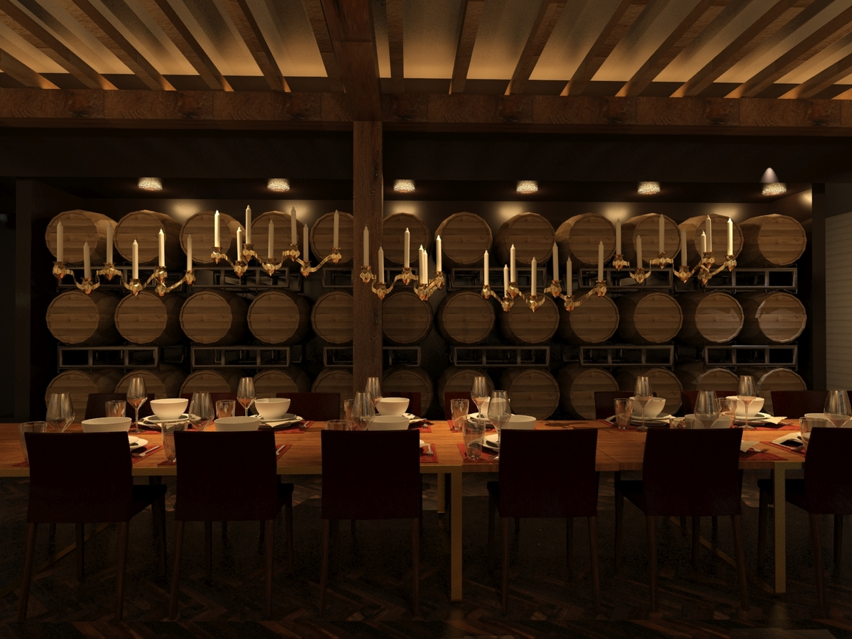 Specialty brews aging in oak barrels provides a backdrop for special events