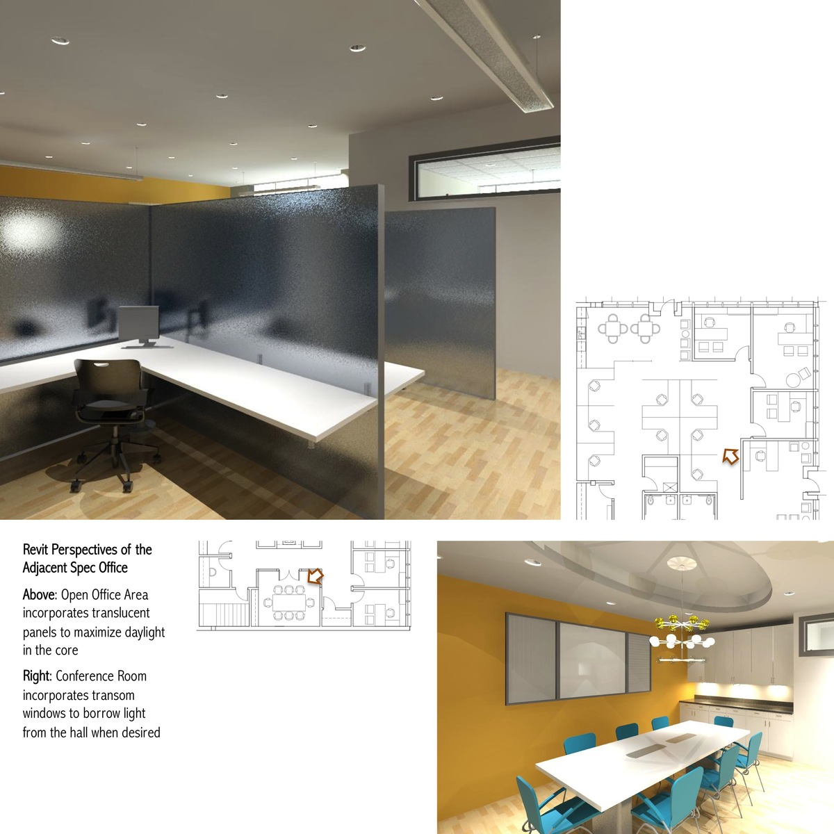 Interior perspectives of the adjacent speculative office, rendered in Revit