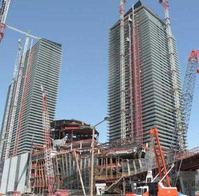 podium and tower at 55% development