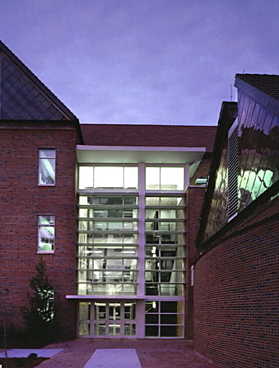 Main Entry Atrium and Stair at night