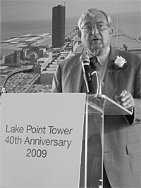 George Schipporeit, who designed Lake Point Tower together with John Heinrich, speaks at the buildings 40th Anniversary Celebration in 2009. Photo credit: Lake Point Tower flickr