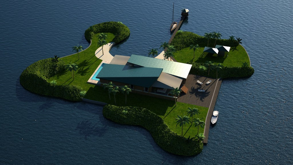 Floating villa, courtesy of Koen Olthuis / Waterstudio.NL—Dutch Docklands / dutchdocklands.com, via The Atlantic Cities.