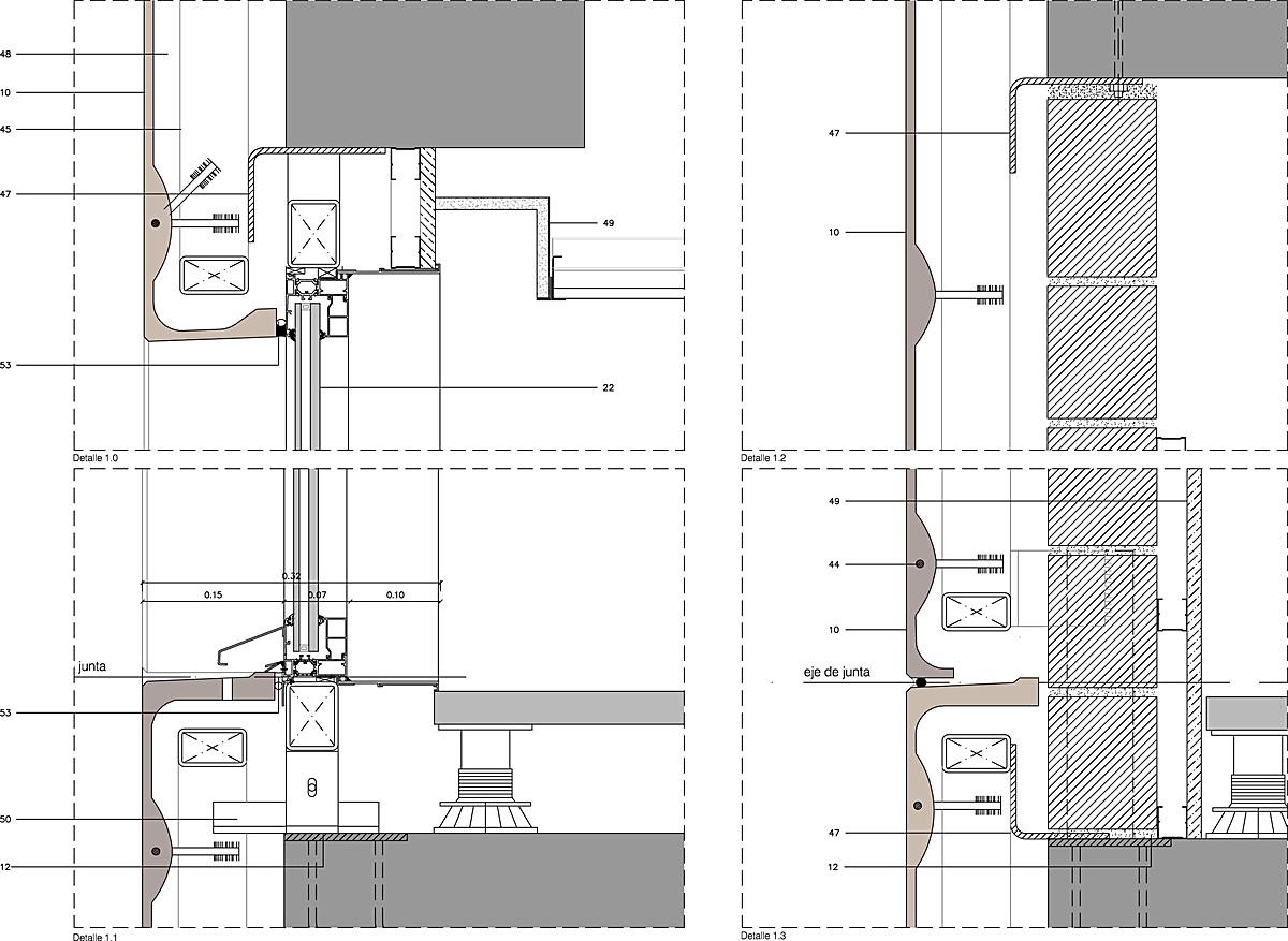Façade's vertical section detail