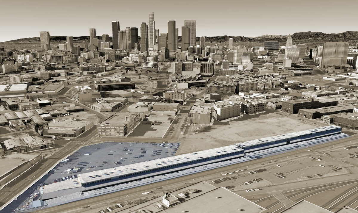 SCI-Arc Campus and Downtown LA Aerial View (Google Earth)