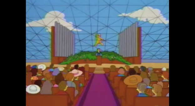 The Crystal Cathedral, parodied in the Simpsons episode Natural Born Kissers