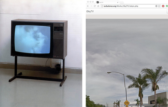 Installation shot of Yoko Onos SkyTV (1966) / iSkyTV on the authors browser. Credit: iSkyTV