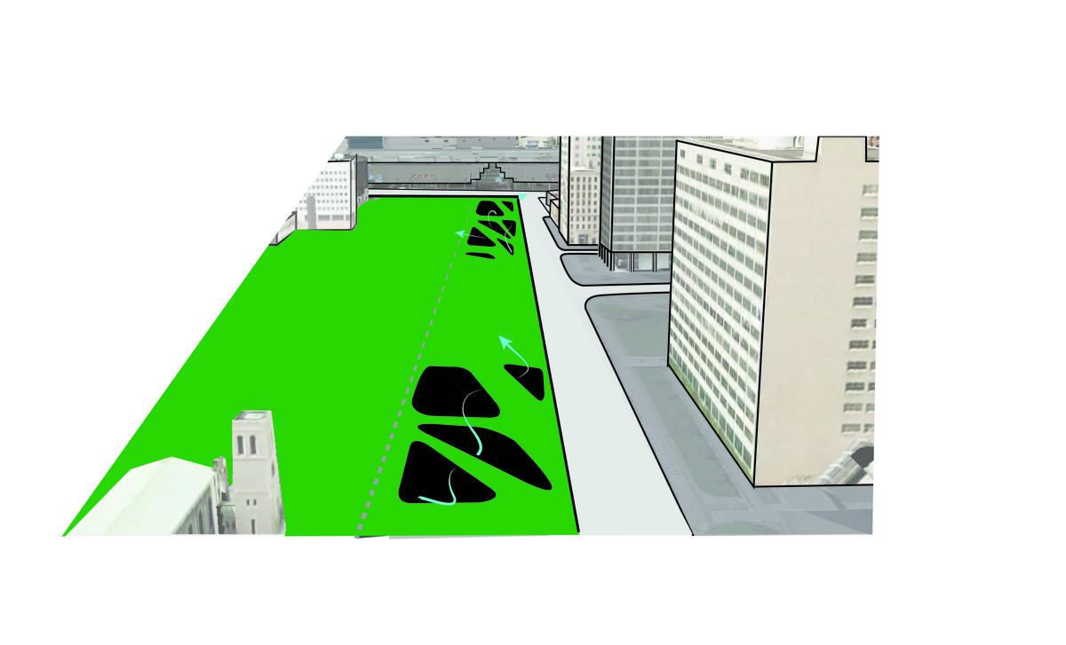 Air and light circulation is created, while producing pathway opportunities for pedestrian traffic above.