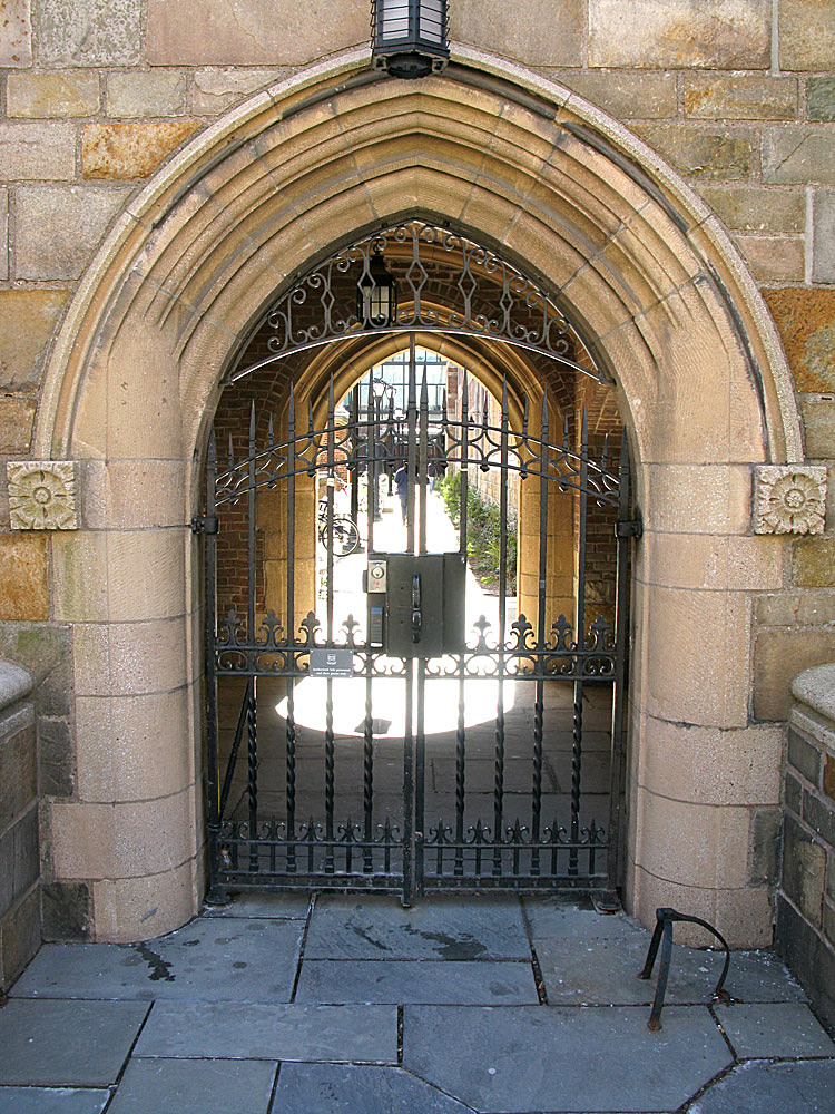 Jonathan Edwards College entry gate.