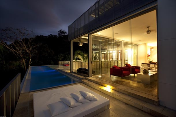 living and infinity pool