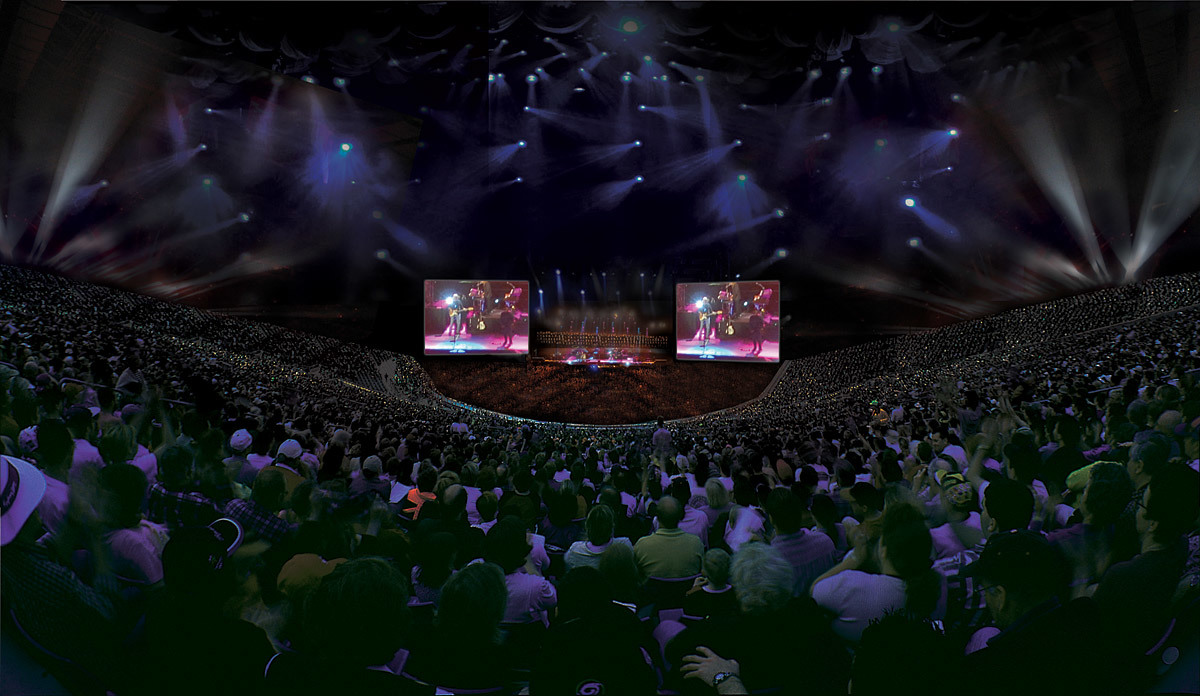 Interior view of the 50,000 seat indoor stadium (Image courtesy of Populous)