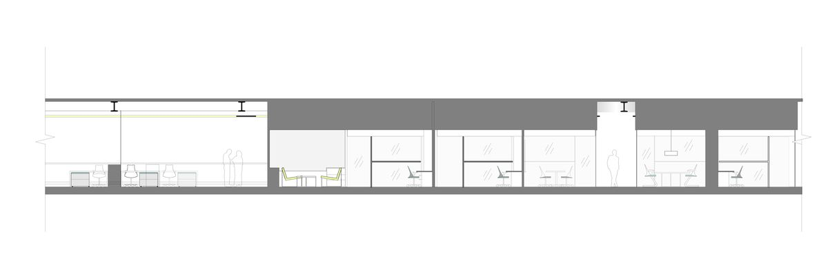 Sectional Elevation Through Open and Closed Office areas