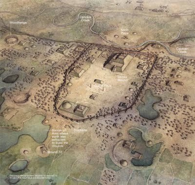 an artists rendition of the Imperial capital of Cahokia; the city may have supported a population of 15,000, connected to surrounding urban sites with specialized economies