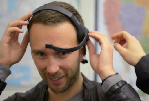 Participant in GSAPP Cloud Lab's DUMBO mapping project, wearing the NeuroSky Mind Wave EEG headset. Image via GSAPP Cloud Lab.