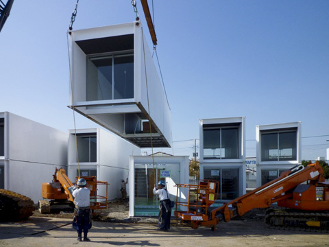 Units of the Ex-Container deployed after the 2011 earthquake and tsunami. Credit: Yasutaka Yoshimura Architects
