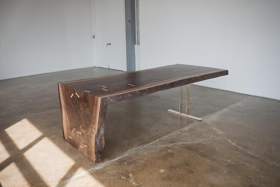 Walnut Waterfall Table Bronze Trestle Base Michael Wong