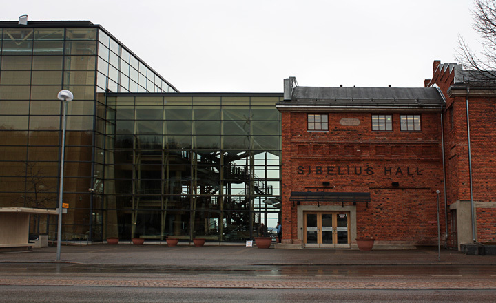 Entrance to the Sibelius Concert Hall in Lahti, Finland by Kimmo Lintula Architects completed in in 2000