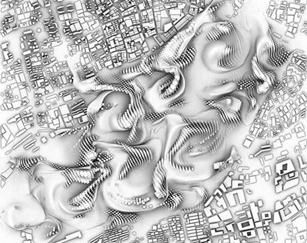 fluid integration of 4 urban morphologies (aka a big bummer for your commute) Credit: Ludovico Lombardi, Du Yu, Victoria Goldstein, Xingzhu Hu under the tutelage Patrik Schumacher