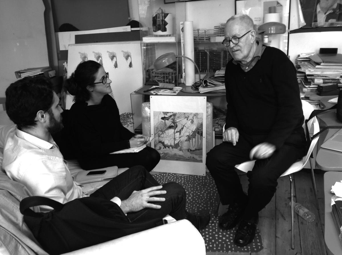 Sir Peter Cook in conversation with Clara Olóriz and Koldo Lus Arana © Koldo Lus Arana