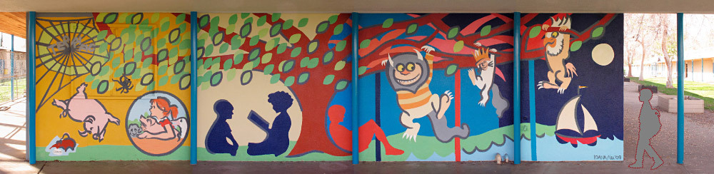 Storybook Mural. (Kester Elementary School, Van Nuys, CA, 2009) Topic chosen by principal as I had proposed something on the local flora/fauna.