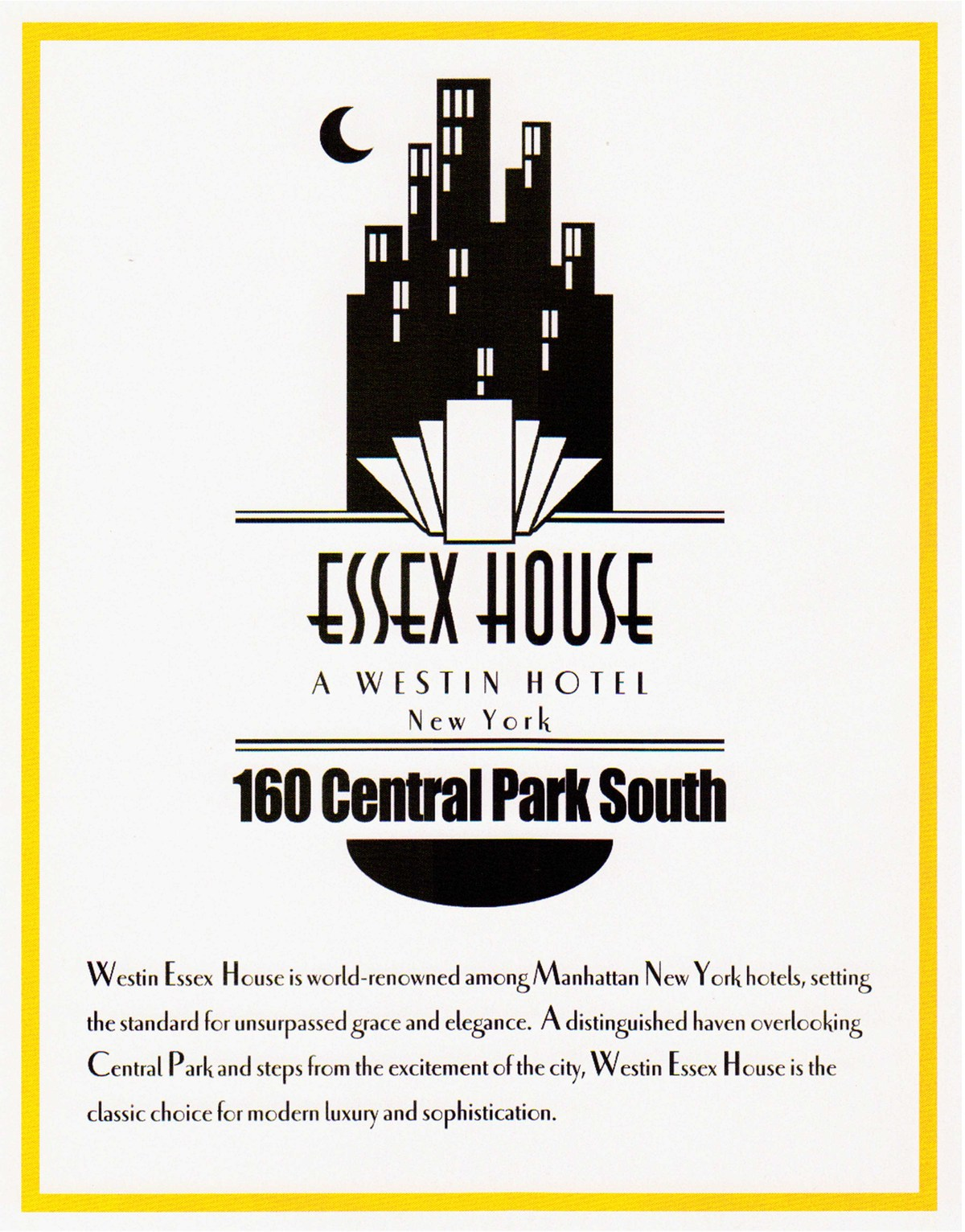 This piece is a magazine advertisement for the Essex House, a luxury hotel located in NYC.