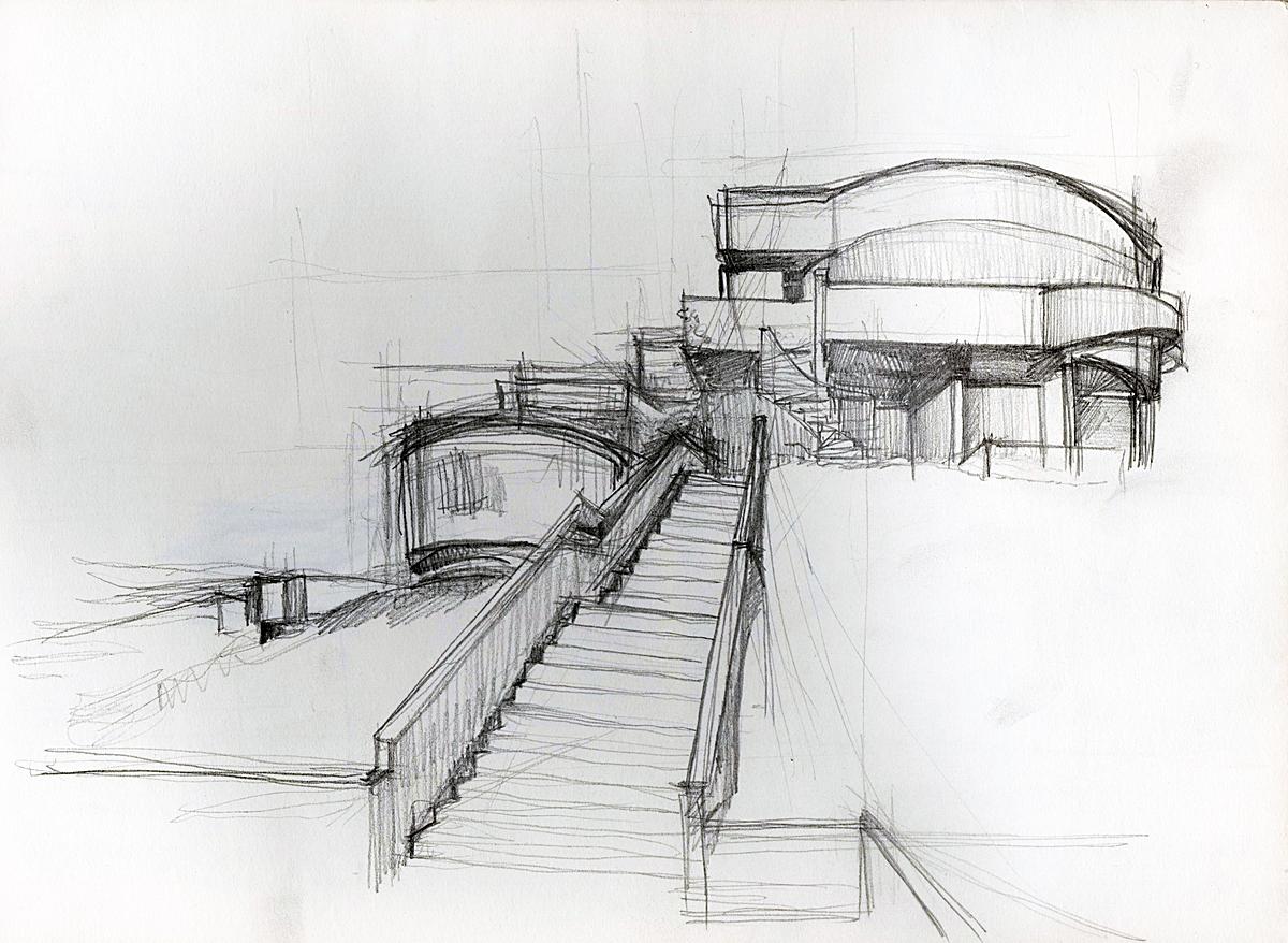 School - Carlo Moderno, Urbino, Italy (graphite +ink)