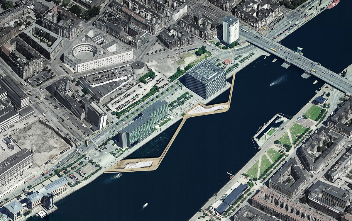 Aerial view scheme of the newly opened Copenhagen harbor front project Kalvebod Wave by KLAR and JDS/Julien de Smedt Architects with Sloth Møller and Niras Engineers