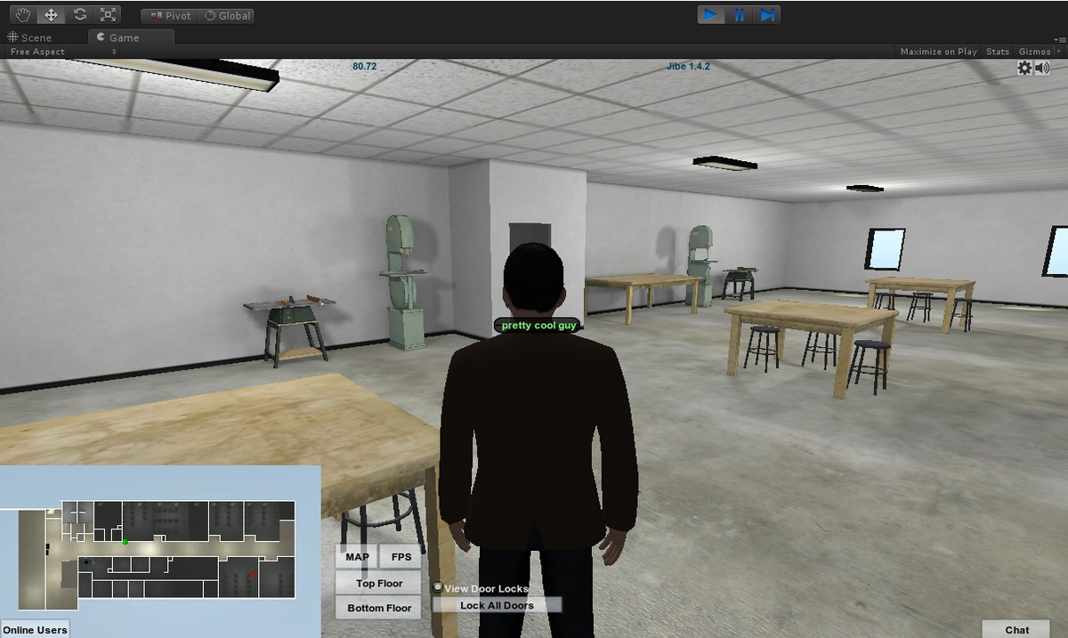 Wood shop area with character implemented.
