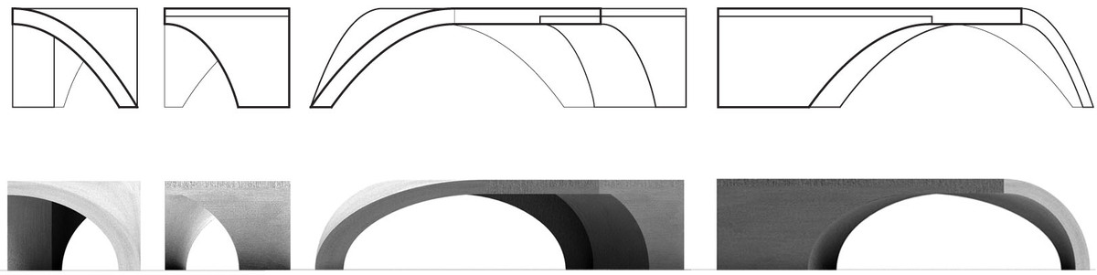 Noguchi Bench_CAD elevation drawings + Rhino renders