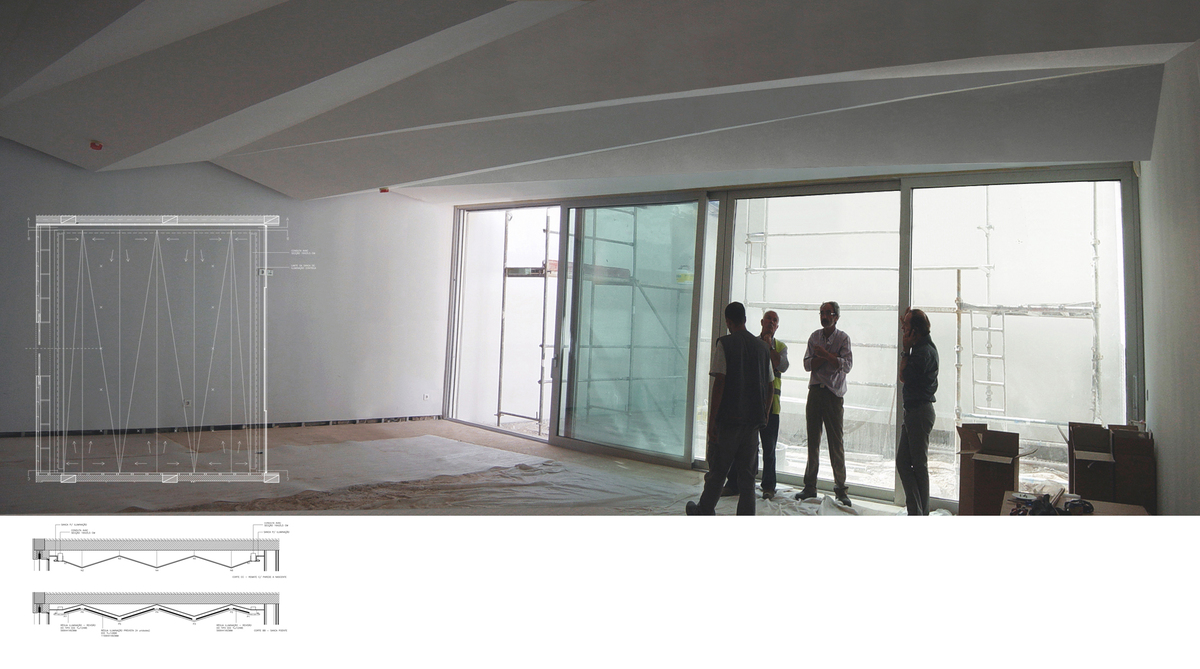 First floor auditorium with poliedric ceiling - construction phase