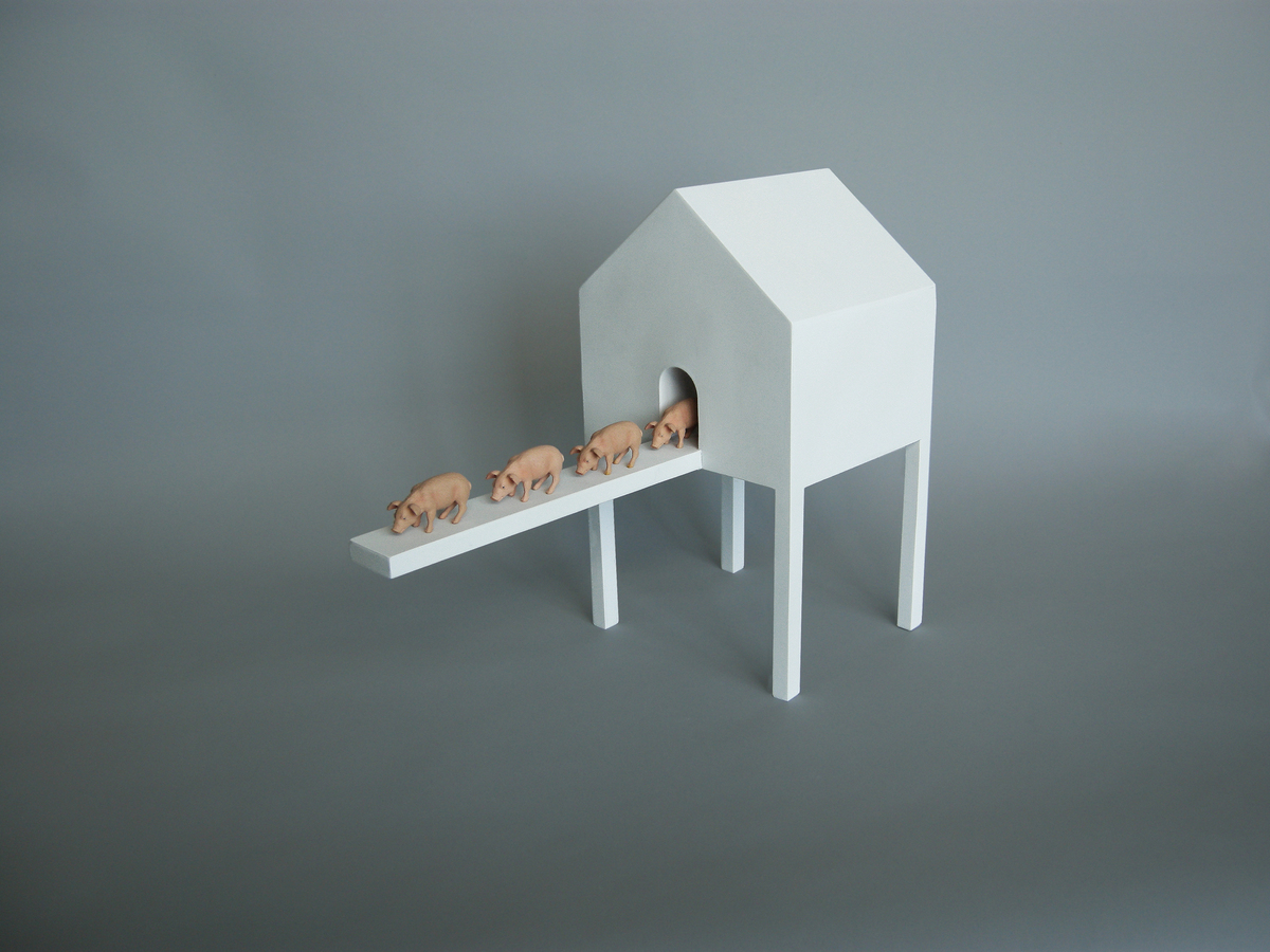 House With Four Exiting Piglets