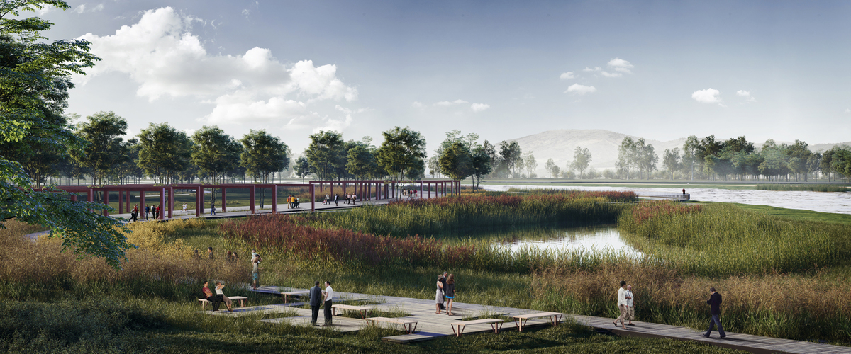 033 – WETLAND PERSPECTIVE - Image Courtesy of ONZ Architects & MDesign