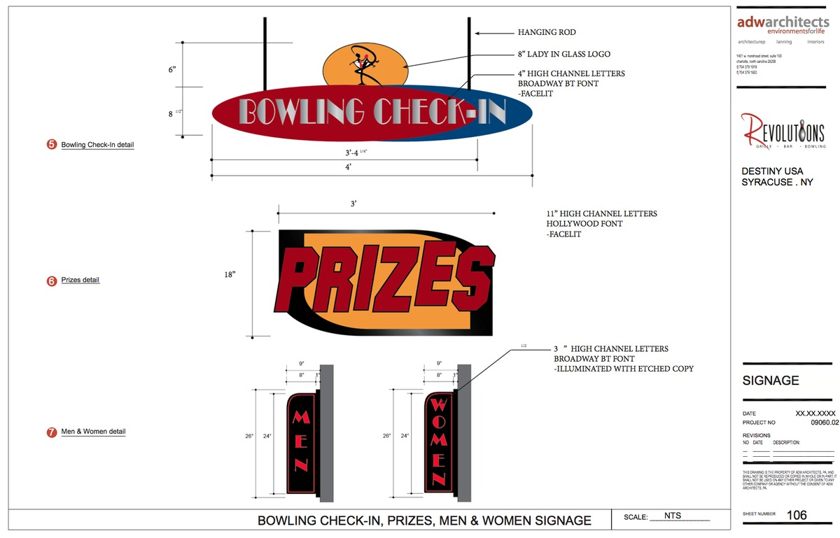 Bowling Check-in, Prizes and Mens' & Women Signage